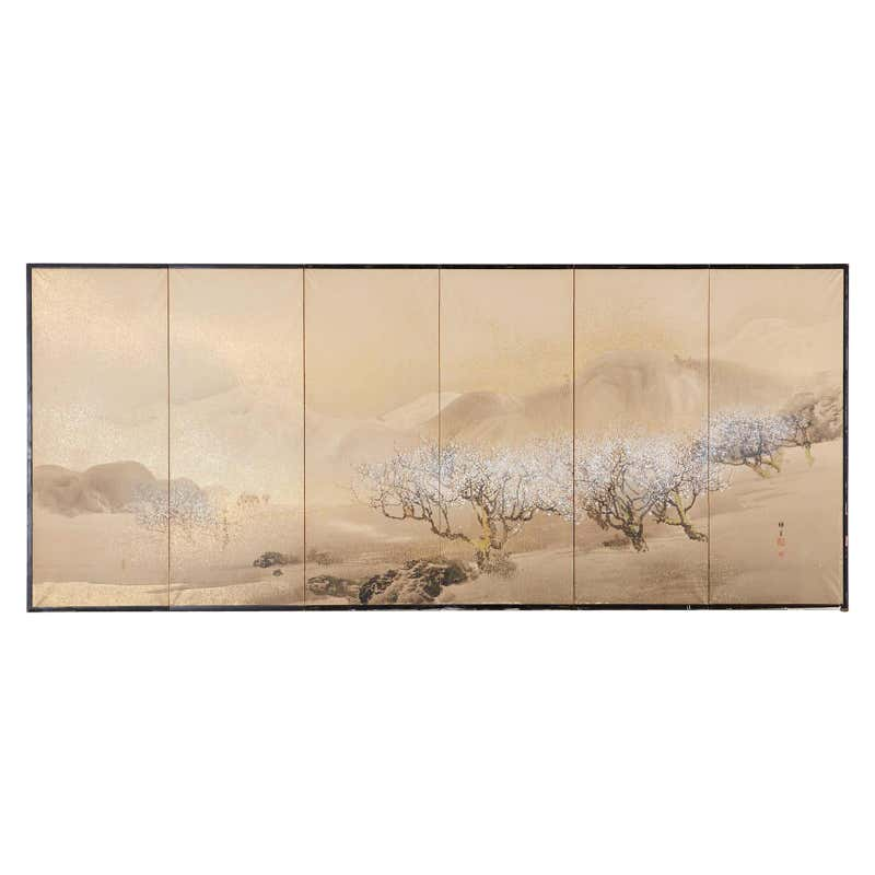 Japanese Six-Panel Showa Screen Cherry Trees at Yoshino