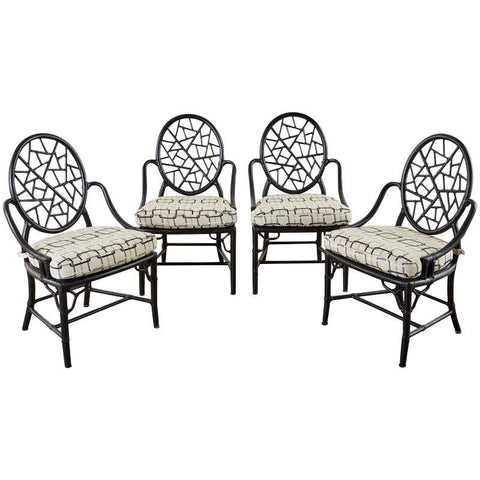 Set of Four McGuire Cracked Ice Rattan Cane Dining Chairs