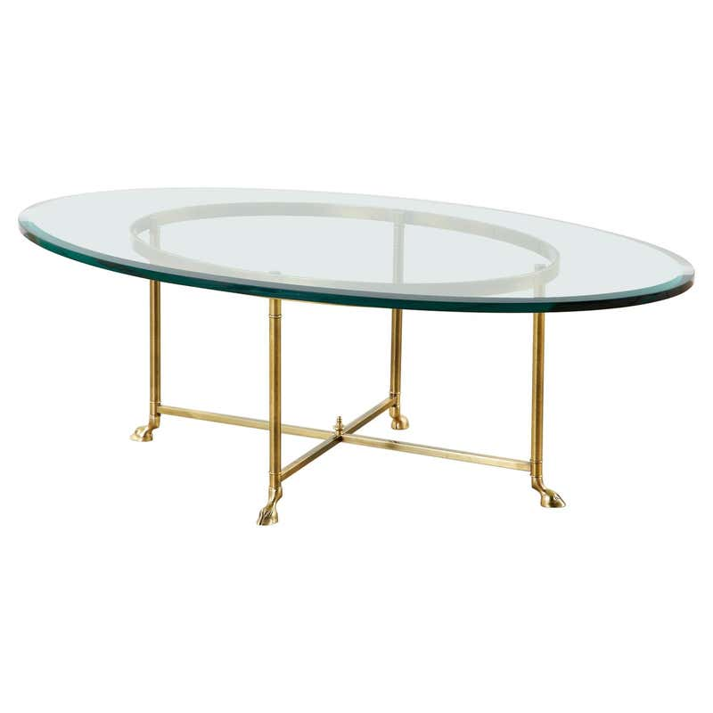 Maison Jansen Style Oval Brass and Glass Cocktail Table
