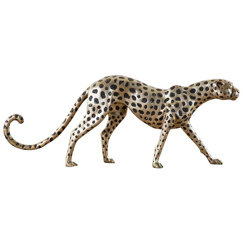 Hollywood Regency Style Silvered Bronze Cheetah Sculpture
