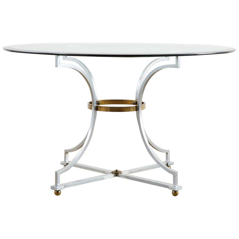 Maison Jansen Style Steel and Bronze Center Table