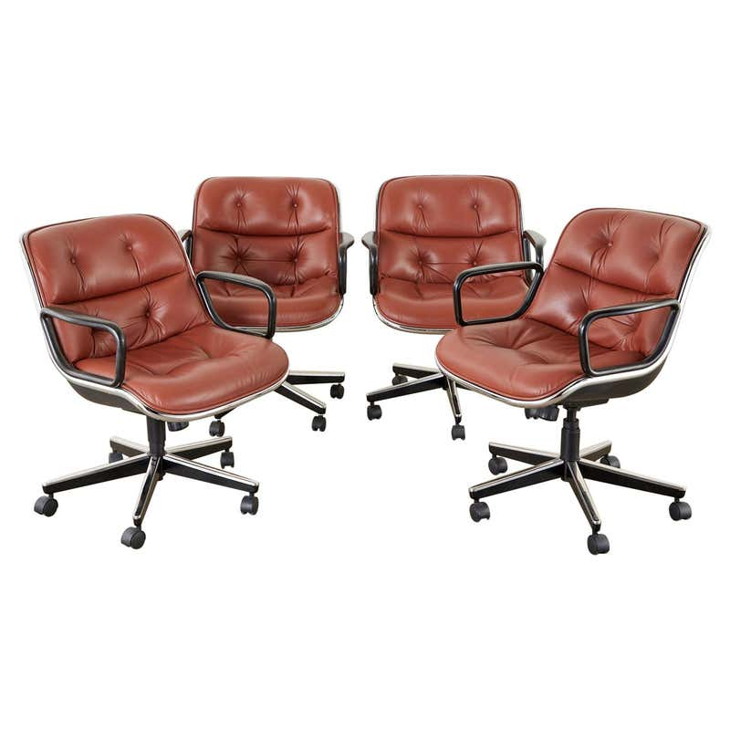 Set of Four Charles Pollock for Knoll Leather Executive Desk Chairs