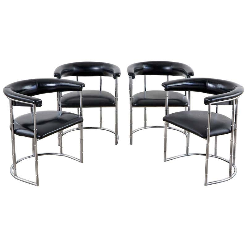 Set of Four Midcentury Chrome Faux Bamboo Barrel Chairs