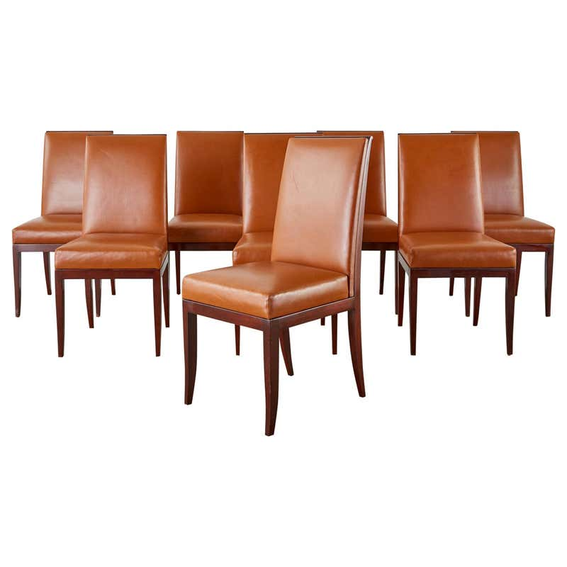 Set of Eight Art Deco Style Mahogany Leather Dining Chairs