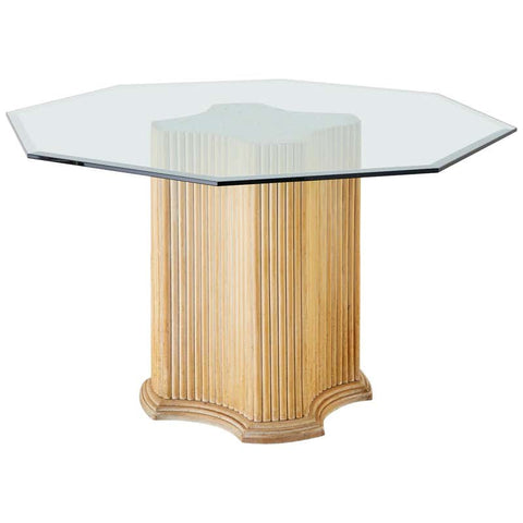 Hollywood Regency Rattan Glass Top Pedestal Dining Table