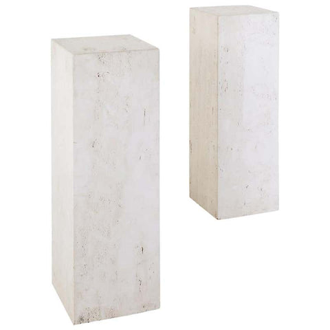 Pair of Italian Travertine Pedestal Table Displays