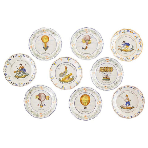 Set of Nine French Faience Hand Painted Plates