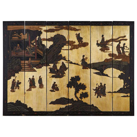 Chinese Export Six-Panel Gilt Coromandel Screen of Immortals