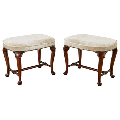 Pair of Queen Anne Style Mahogany and Velvet Footstools