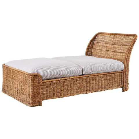 Organic Modern Style Wicker Daybed or Chaise Lounge