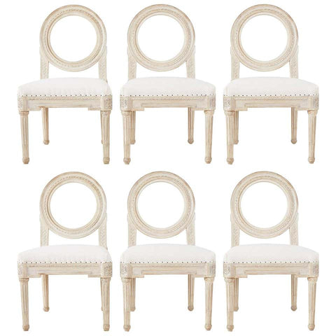 Set of Six Louis XVI Gustavian Style Dining Chairs