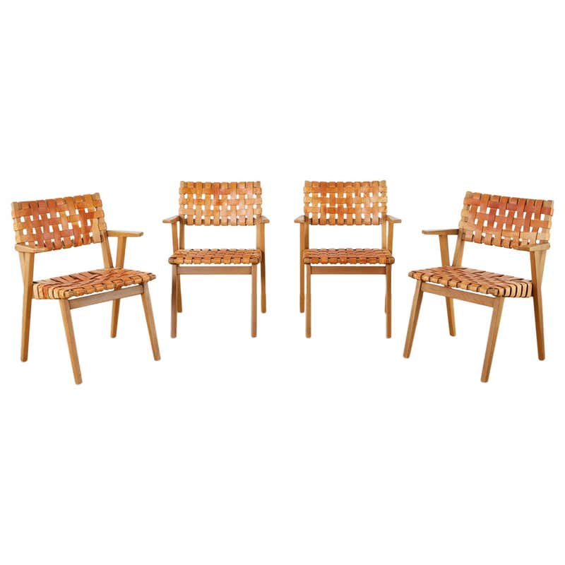 Set of Four French Leather Strap Dining Armchairs