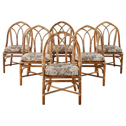 Set of Six McGuire Organic Modern Bamboo Rattan Dining Chairs