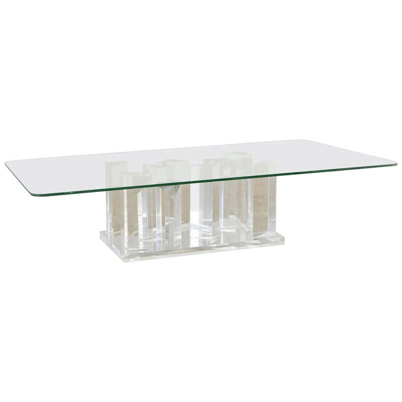 Hollywood Regency Lucite and Glass Stalagmite Cocktail Table