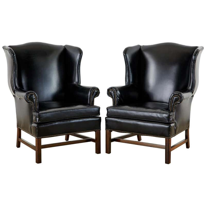 Pair of Black English Georgian Style Mahogany Wingbacks