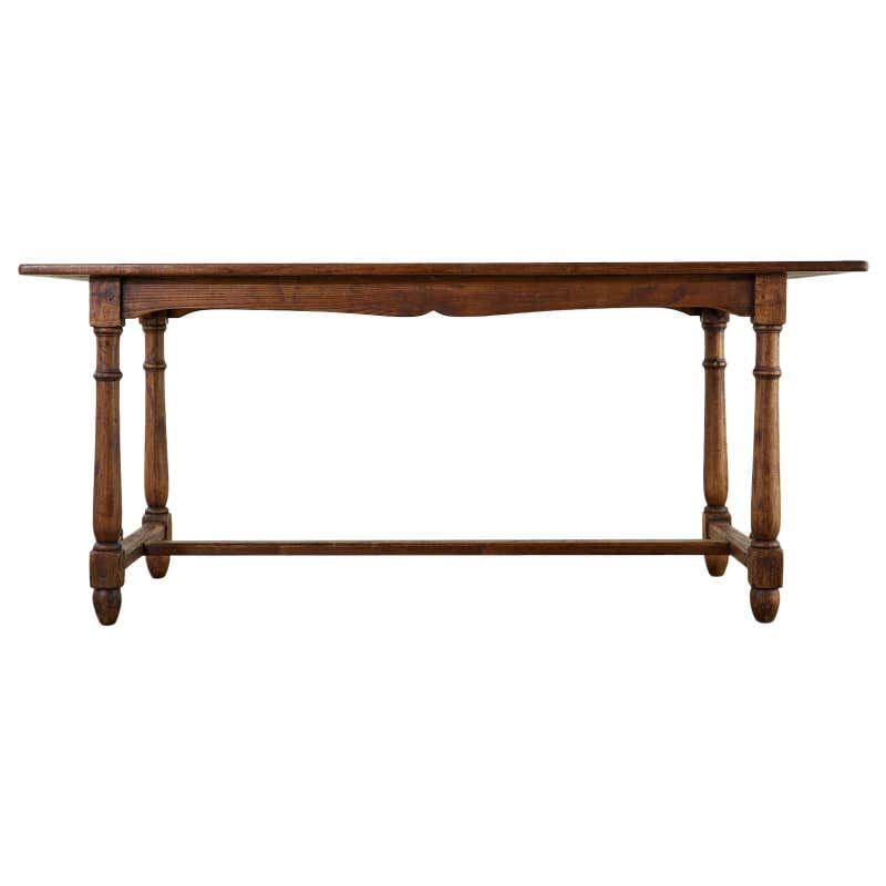 Country English Provincial Oak Farmhouse Trestle Dining Table