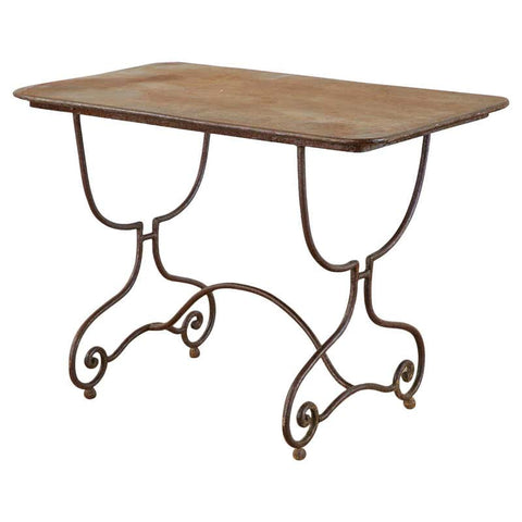 French Art Nouveau Iron Bistro Dining Table