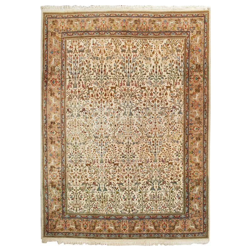 Indo Persian Tabriz Hand Knotted Wool Hunt Rug