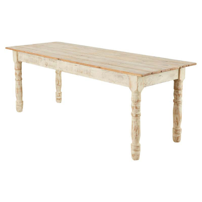 American Country White Painted Pine Farmhouse Dining Table