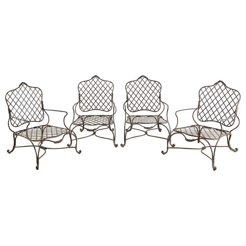 Set of Four Rose Tarlow Twig Iron Garden Lounge Chairs