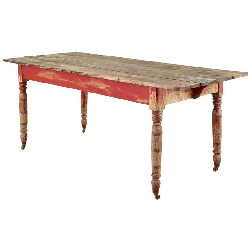 American Country Red Painted Pine Farmhouse Dining Table