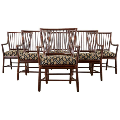 Set of Six Orlando Diaz-Azcuy for McGuire Dining Armchairs