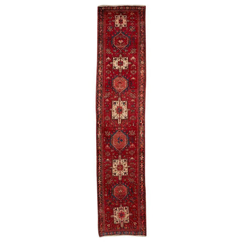 Vintage Persian Heriz Runner with Tribal Design
