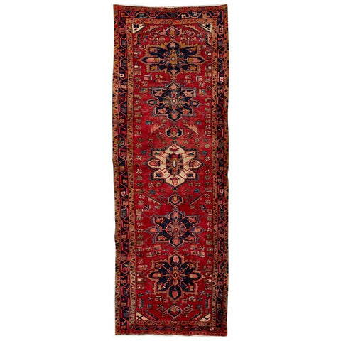 Semi Antique Persian Heriz Tribal Design Runner