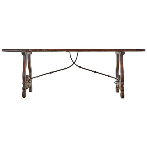 19th Century Spanish Baroque Walnut Trestle Dining Table