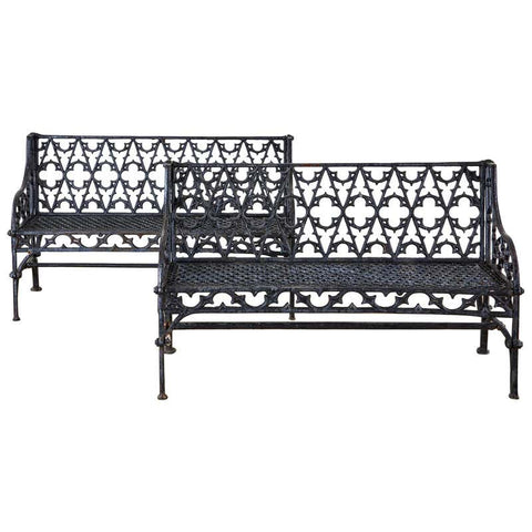 English Coalbrookdale Attributed Iron Gothic Revival Garden Benches