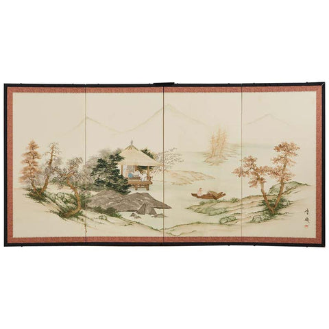 Japanese Four Panel Showa Screen Retreat Mountain Landscape
