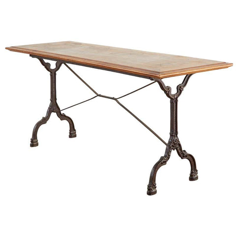 French Art Deco Iron Cafe Bistro Dining Table or Console