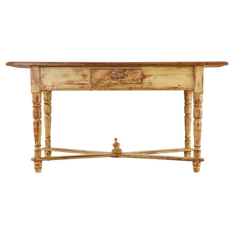 Country French Painted Pine Farmhouse Console or Work Table