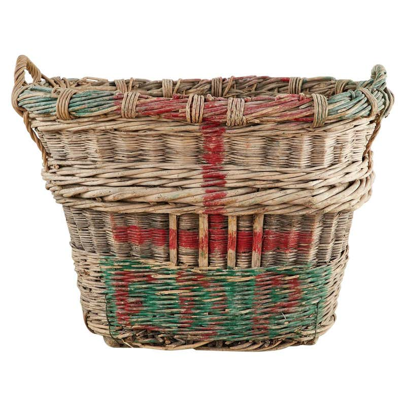 French Woven Wicker Champagne Grape Harvest Basket