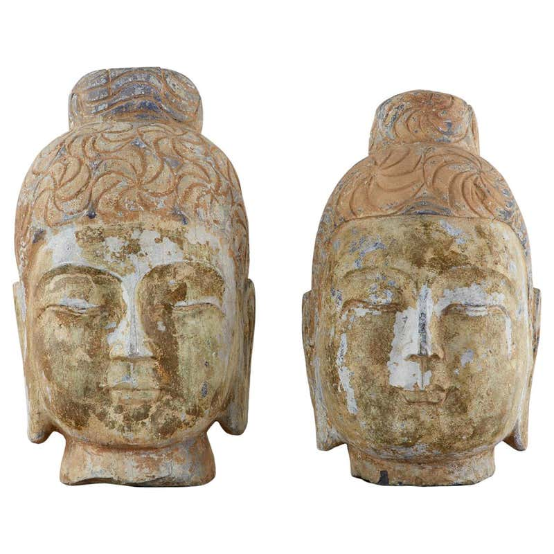 Pair of Associated Burmese Carved Stone Buddha Head Busts