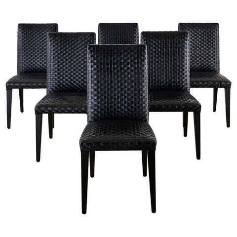 Set of Six Italian Woven Black Leather Dining Chairs