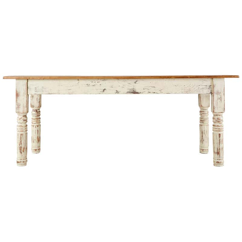 Rustic American Cream Painted Pine Farmhouse Dining Table
