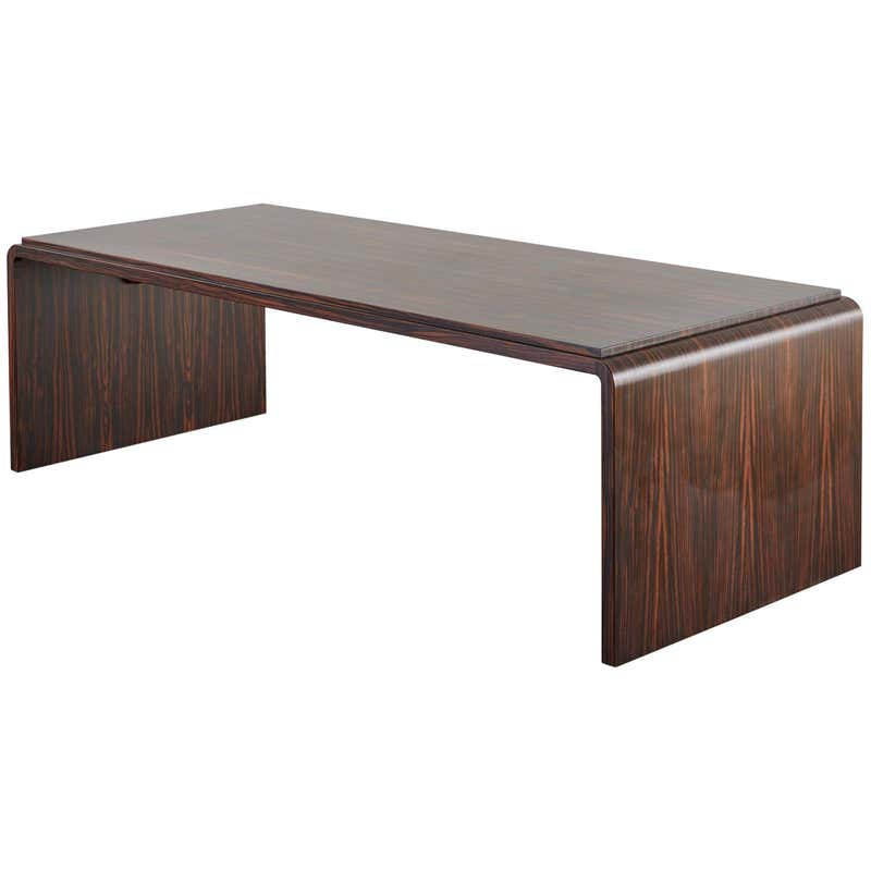 Macassar Ebony Waterfall Cocktail Table by Mattaliano