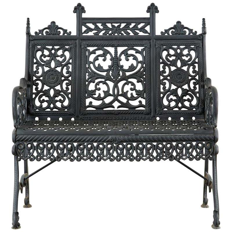 Petite Cast Iron Gothic Bench after Peter Timmes Son