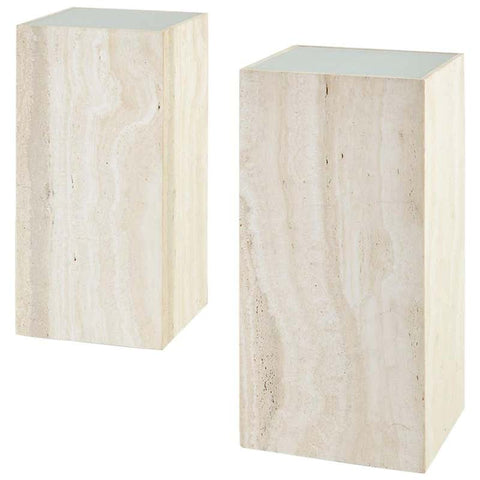 Pair of Italian Travertine Pedestal Display Tables