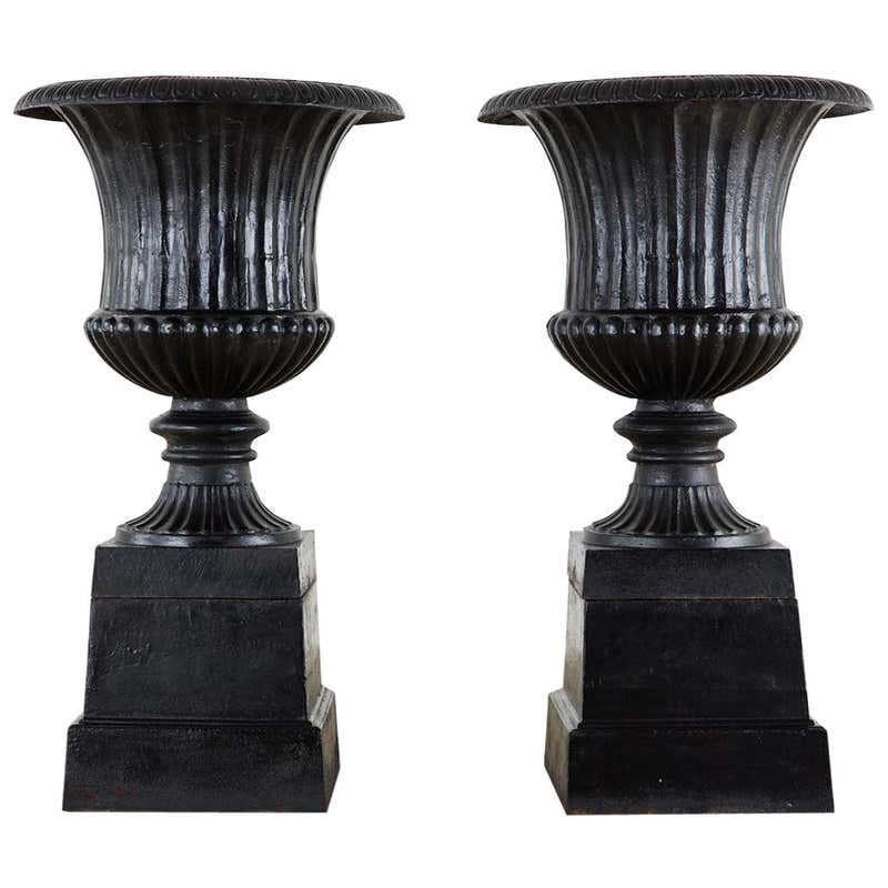 Pair of English Cast Iron Neoclassical Style Campana Garden Urns