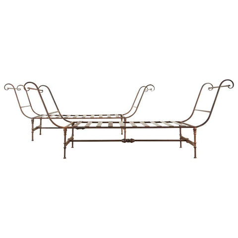 Neoclassical Style Iron Garden Daybed Benches