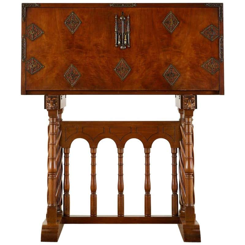 Spanish Baroque Style Vargueño Cabinet Desk on Stand