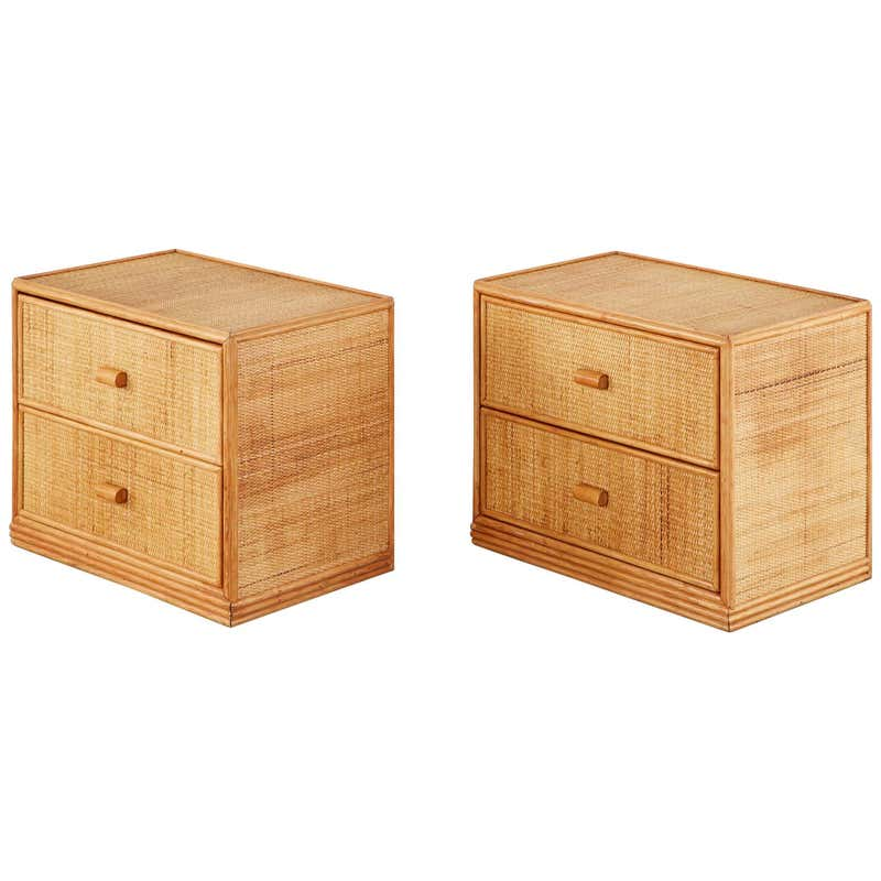 Pair of Bielecky Brothers Raffia Cane Organic Modern Nightstands