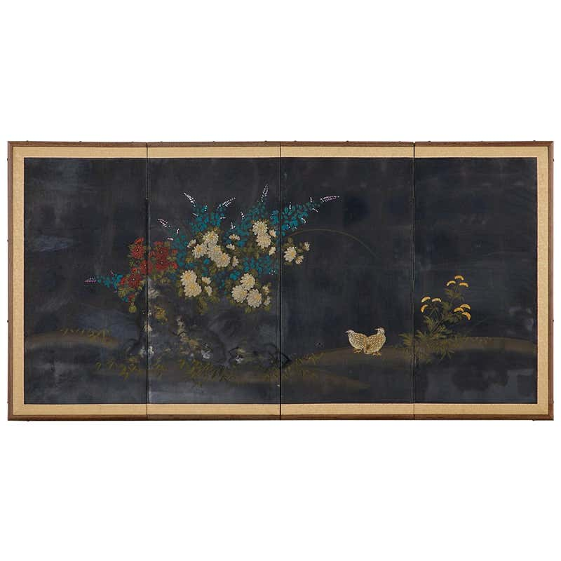Japanese Four-Panel Showa Screen Quail Floral Landscape