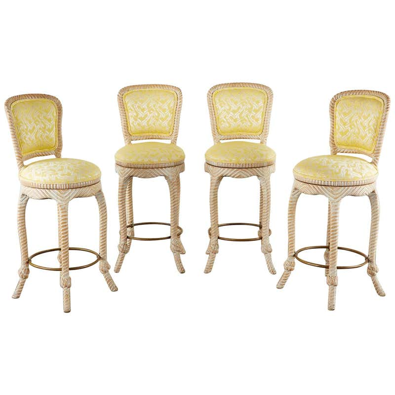 Set of Four Napoleon III Style Nautical Rope Barstools