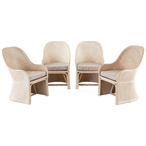 Set of Four McGuire Style Cerused Rattan Lounge Dining Chairs