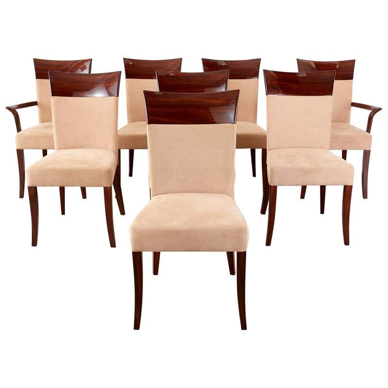 Set of Eight Artedi French Art Deco Style Dining Chairs