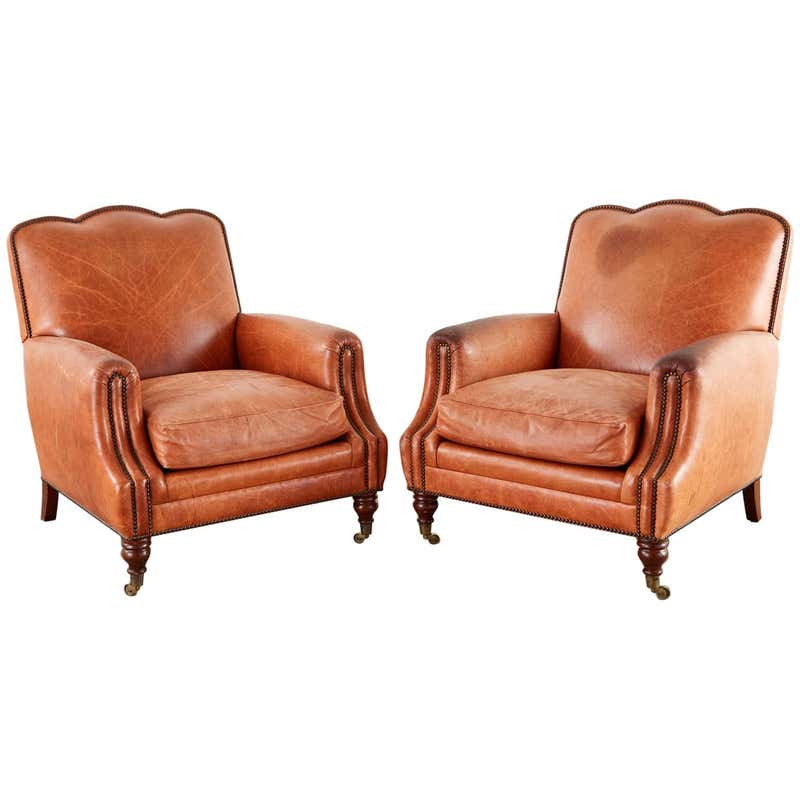 Pair of A. Rudin Art Deco Leather Lounge Chairs