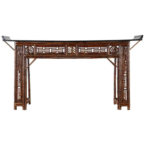 Chinese Qing Dynasty Bamboo Altar Table Console